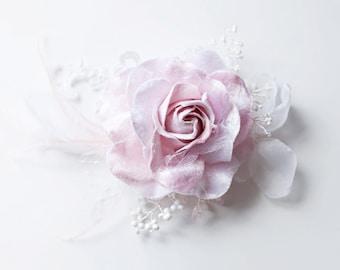 SALE Pink Rose Bridal Hair Clip