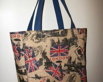 Tote Bag Large Burlap London British Union Jack Knitting Crocheting Toys Shopping Grocery Beach Book Computer Overnight Bag