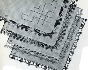 Vintage Tatting PATTERN Handkerchief Edgings 1940s WWII era  PDF instant Download Star 15