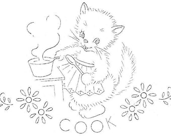 Vintage Hand Embroidery PATTERN Seven Busy Kittens for Kitchen Dish Towels PDF instant download