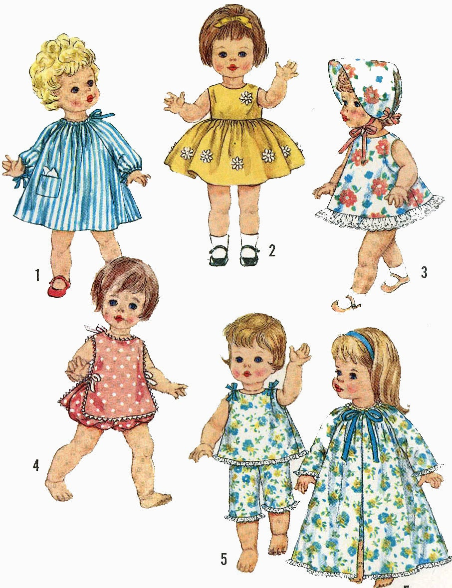 Vintage Doll Clothes Pattern 4839 For 15 Inch Chaty Baby Suzie