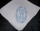 Vintage White Hanky with a Light Blue Initial H - Handkerchief Hankie