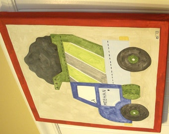 Boys dump truck canvas painting 12 x 12 Construction vehicle Children kid room decor Baby nursery wall art Original painted art Blue green