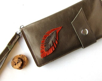 Leather Wallet Clutch Wristlet - Rustic - Feather