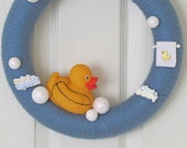Yarn Wreath, Rubber Ducky, Blue Wreath, Bath Bubbles