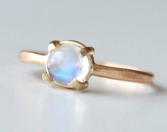 Rainbow Moonstone Ring - Rainbow and Gold Ring - Dainty Gold Ring - 14k Gold Moonstone Ring - Prong Set Gemstone Ring - Iridescent Ring