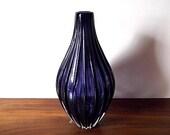 """Modernist A. Wahlstrom Kosta Boda Cobalt Blue Fluted Art Glass Vase, """"Calebass"""""""
