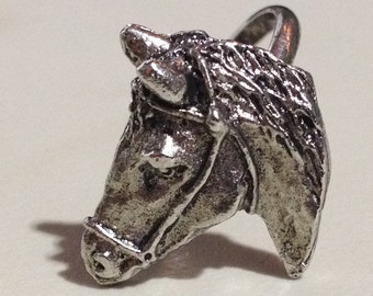 1960s Rare HORSE HEAD Ring from Circus and Rodeo Events - Adjustable