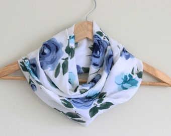 READY TO SHIP - Upcycled Infinity Scarf - Great Gift - Lightweight Rayon - Summer Scarf - Floral Blues