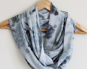 READY TO SHIP - Upcycled Infinity Scarf - Great Gift - -Blue Floral Paisley - Eco Accessory