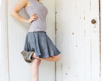 Organic Denim Skater Skirt - Mini Skirt - Hemp and Organic Cotton Lightweight Denim