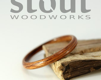 SIZE 8 - Classic Kingwood Bentwood Ring - Handcrafted Wooden Ring
