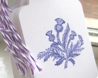 Purple Thistle Gift Tags, Thistle Wedding Wish Tags
