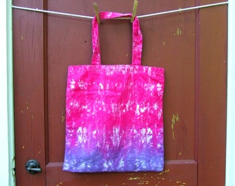 Washable Cloth Tie Dye Market Tote - with Short Handles - Pink and Purple