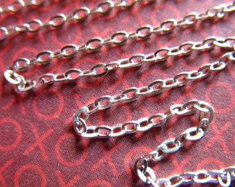 Chain, Sterling Silver Flat Cable Necklace Chain, 1.7x1.2 mm, 6 feet, 15-45% Less Bulk, wholesale ss s83 hp