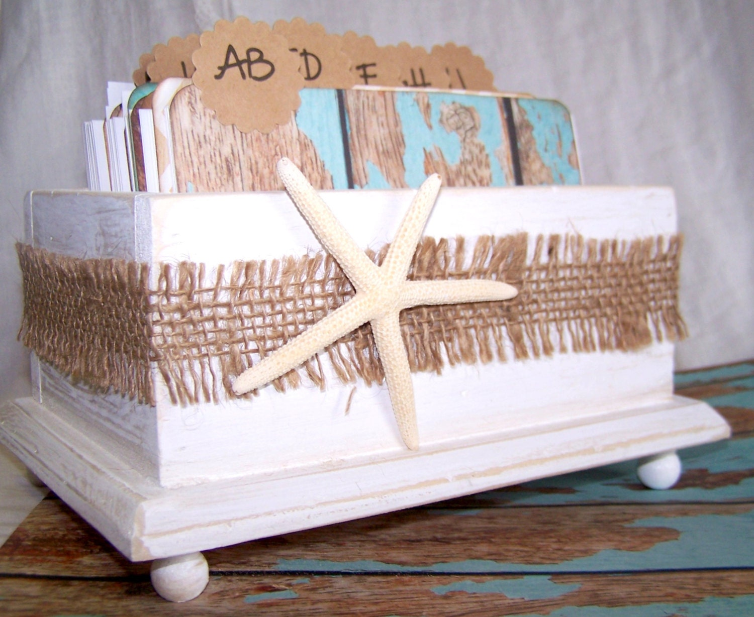 items similar to wedding guest book box beach theme aqua blue and