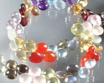 AAA Multi Semi Precious Smooth Polished Heart Briolettes 8mm - 9mm