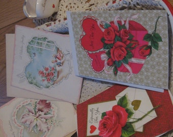 Lot of Four Lovely Unused Vintage Valentine Cards with Envelopes