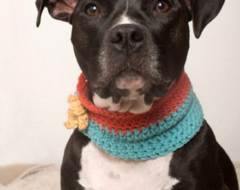 Knit Flower Dog Cowl/Neck Warmer - Orange Blue