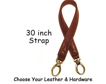 30 inch Length - 1 inch Wide - Genuine Leather Purse/Bag Strap - Your Choice of Leather and Hardware Style - Made to Order