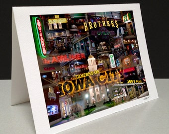 Taverns of Iowa City 5 x 7 Greeting Card - Iowa City, IA
