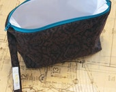 all-purpose small wetbag - wipes bag - cosmetic bag - wristlet pouch in chocolate flowers