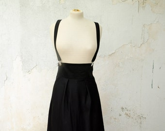 High Waisted Retro Jumper Skirt with Suspenders, available Black, Green and Red Cotton Gabardine