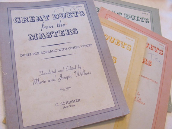 GREAT DUETS From The Masters - 4 books for all voices - vintage Schirmer pub