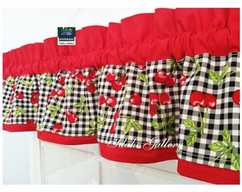 ON SALE Cherry Checks on Red Little Curtain Valance For Playhouse Childs Room Small Window Treatment