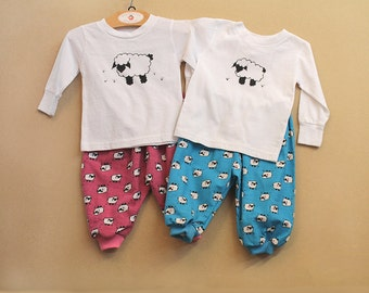 Coordinating Twin Outfits Twin Baby Gift Pink Blue Boy Girl Gift for Twin Matching Sets Flannel Pant and Hand Painted Sheep Long Sleeve Top