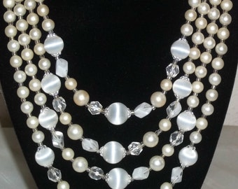 Vintage 4 Strand Beaded Necklace Stone Faux Pearls