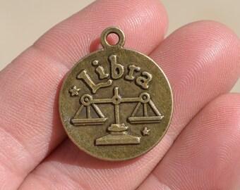 1 Libra Zodiac Antique Bronze Charm BC2802