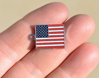 BULK 20 Silver and Enamel  American Flag Charms SC1019