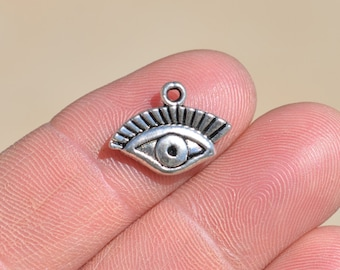 10  Silver Eye Charms SC1329