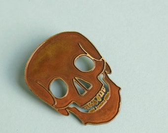 Brass Skull Brooch Skeleton Jewellery Anatomy Jewelry Medical Brooch