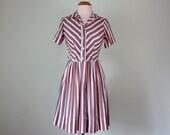 60s dress / stripe cotton shirt dress fit flare summer short sleeve fitted waist (s - m)