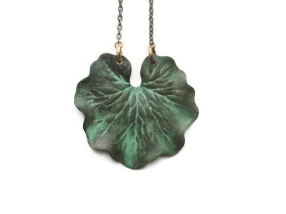 Green Leaf Necklace, Boho Necklace, Forest, Verdigris, Large, Woodland, Rustic Patina, Gardener, Naturalist