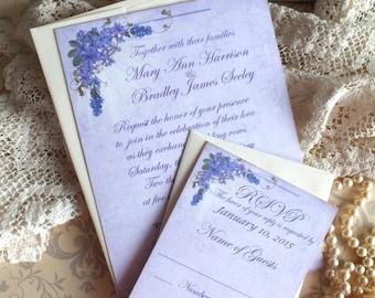 Vintage Romantic Elegant Lavender Wedding Invitations Handmade by avintageobsession on etsy