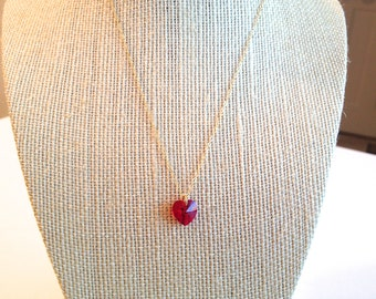 CLEARANCE: Girls' Siam Swarovski Crystal Heart Pendant Necklace on 14k Gold