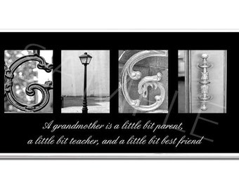 GIGI   Inspirational Plaque black & white letter art