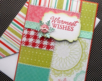 Holiday Card with Matching Embellished Envelope - Warm Wishes Patchwork