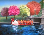 Boston Public Garden Swan Boat Note Card, with envelope. Blank inside