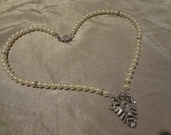 Art Deco Bridal Jewelry Wedding Necklace OOAK Rhinestone Necklace Swarovski Pearl Necklace Wedding jewelry