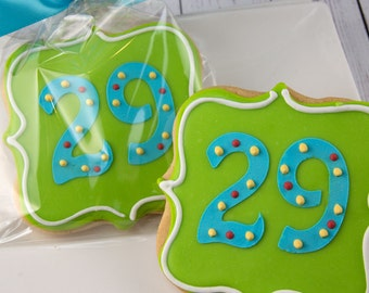 Birthday Plaque Cookies, Any Birthday Number Cookie - 12 Decorated Sugar Cookie Favors