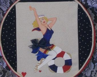 Hey Sailor! Hoop Art, Pin Up Girl Hoop Art