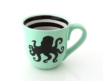 Octopus Mug, Large Mug, Seafoam Green with black stripes, nautical, beach house, gift for mermaid lover
