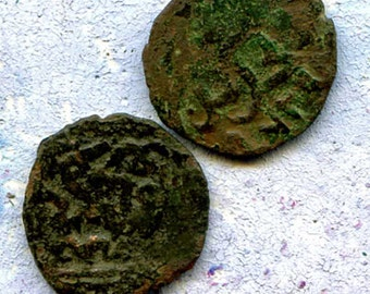 2 UNCLEANED coins from a dig,antique objects, something  curious, antique metal coin, coolvintage, collectibles, patina, old, age,12K