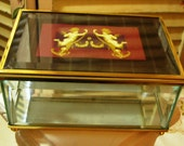 Charming and Beautiful - Beveled Glass and Gold Metal Jewelry Box - Vanity Box - Footed - Hinged Lid - Angel Accents