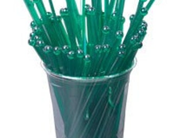 25 Green Swizzle Sticks and and PDF Printable Party Flags