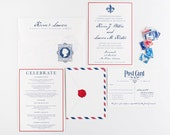 Wedding Invitation, Airmail Travel Theme Wedding, Red and Blue Invitations